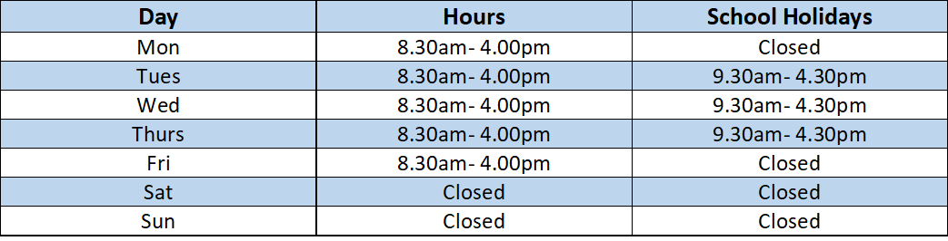 library opening times